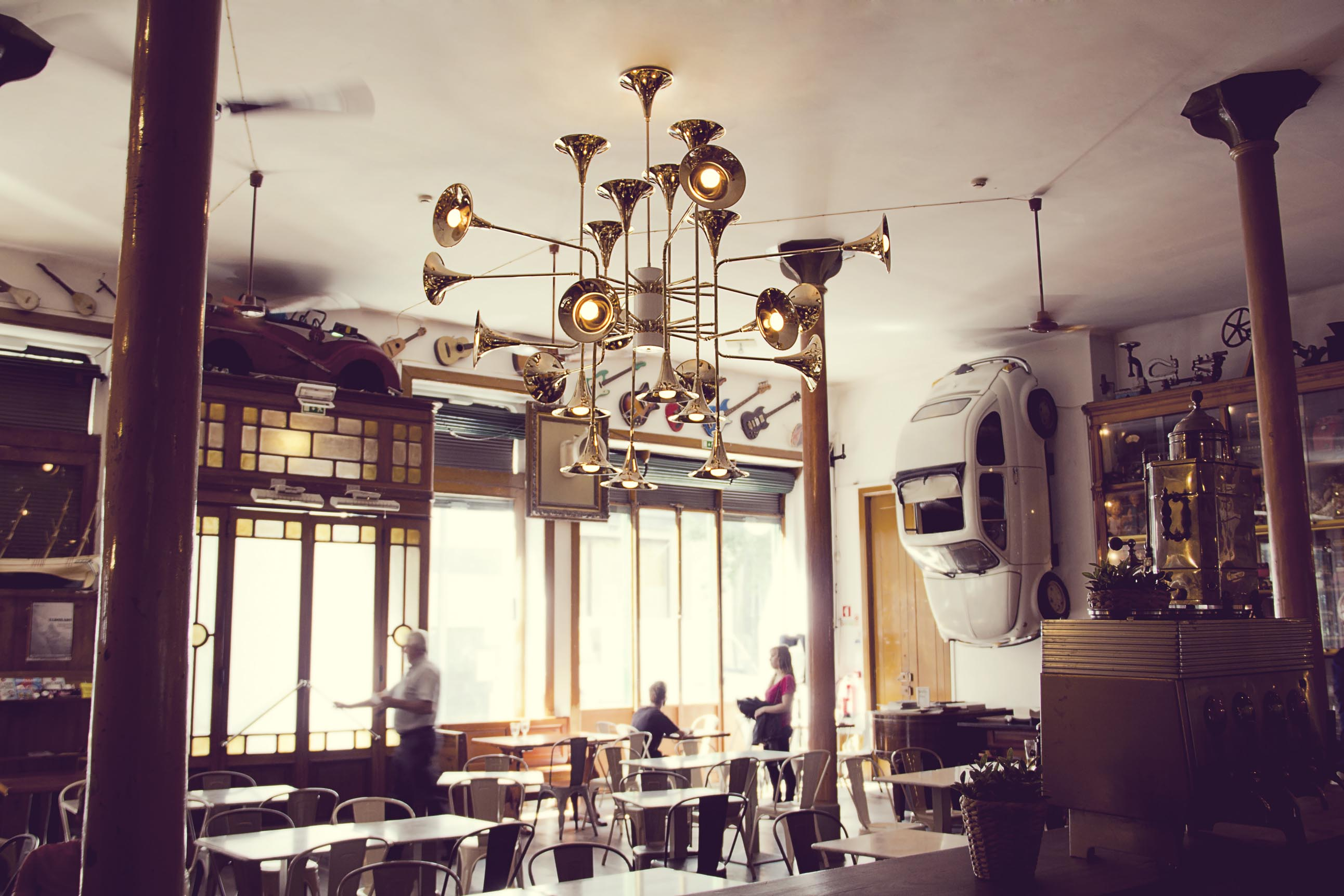 MUSIC INSPIRED SUSPENSION LAMP AT A VINTAGE RESTAURANT