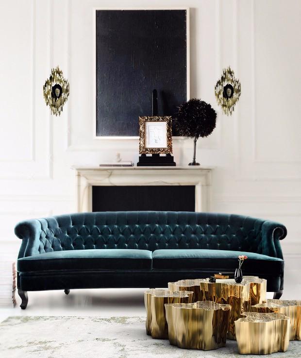 8 stunning velvet sofas for your living room for Green velvet sofa for your modern living room