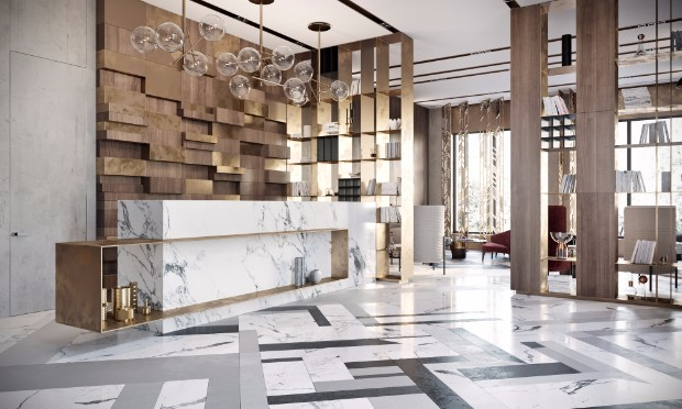 Modern Lobby In Moscow With Unique Lamps