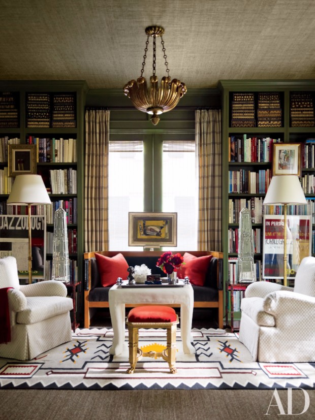 Living Room Like A Library: Vintage Library Design Ideas