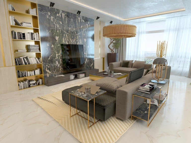 Merveilleux Luxury Living Room With Marble Details And Golden Lighting Luxury Living  Room Luxury Living Room With