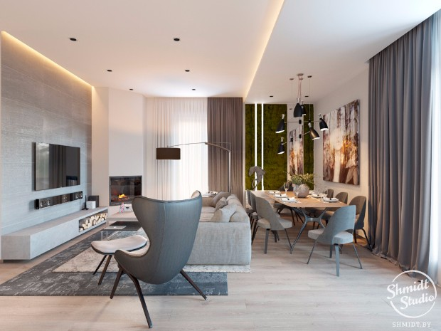 Open Plan Living Room Ideas To Inspire You: INSPIRING MODERN OPEN PLAN LIVING ROOM IN MINSK