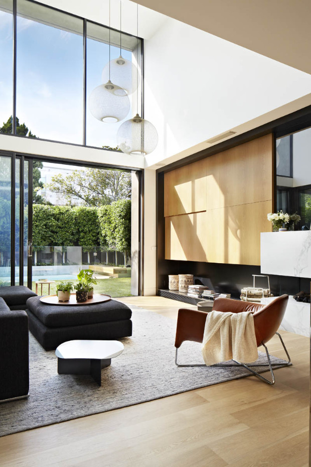 OPEN PLAN CONTEMPORARY HOUSE WITH MODERN LAMPS AND DREAMY OUTDOOR