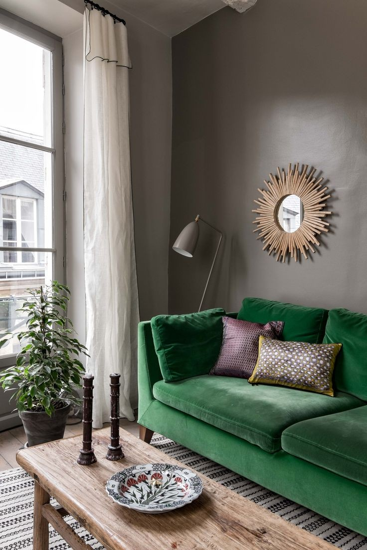 Living Room Ideas with Dark Green Sofa