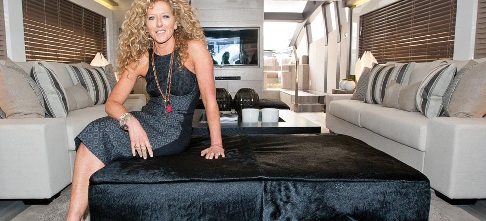 Kelly Hoppen MBE, who designed the interior of the Pearl 75, on board for it's launch.