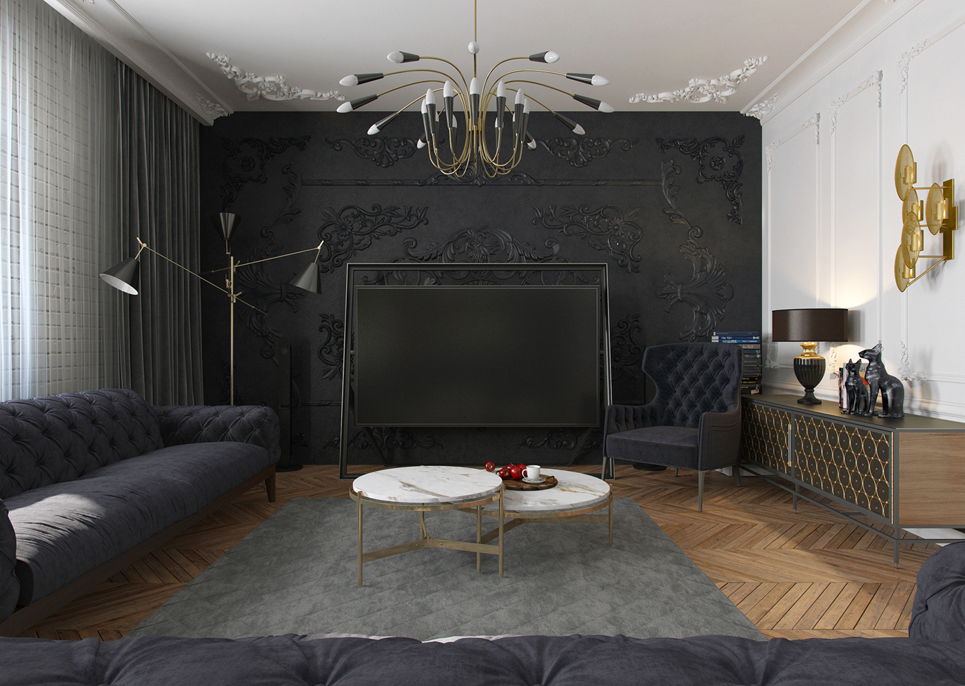How stunning can a black apartment be?