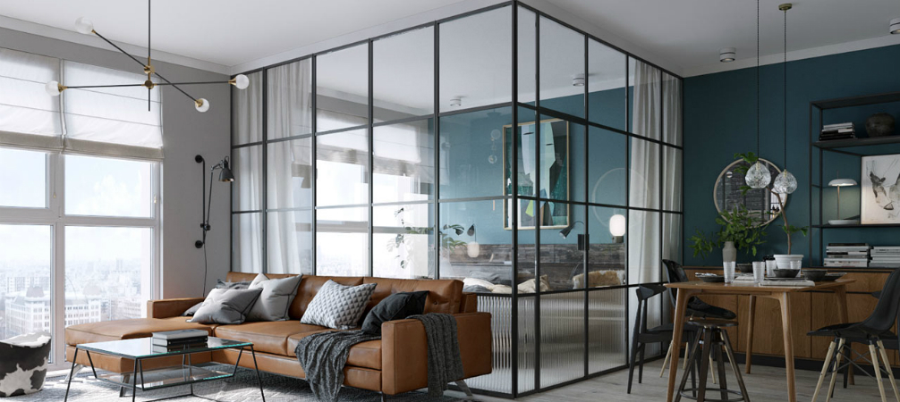 Room of the Week- An Open Plan Living Space with a Glass Wall Bedroom