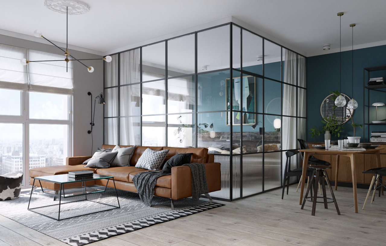Room of the Week An Open Plan Living Space with a Glass Wall Bedroom