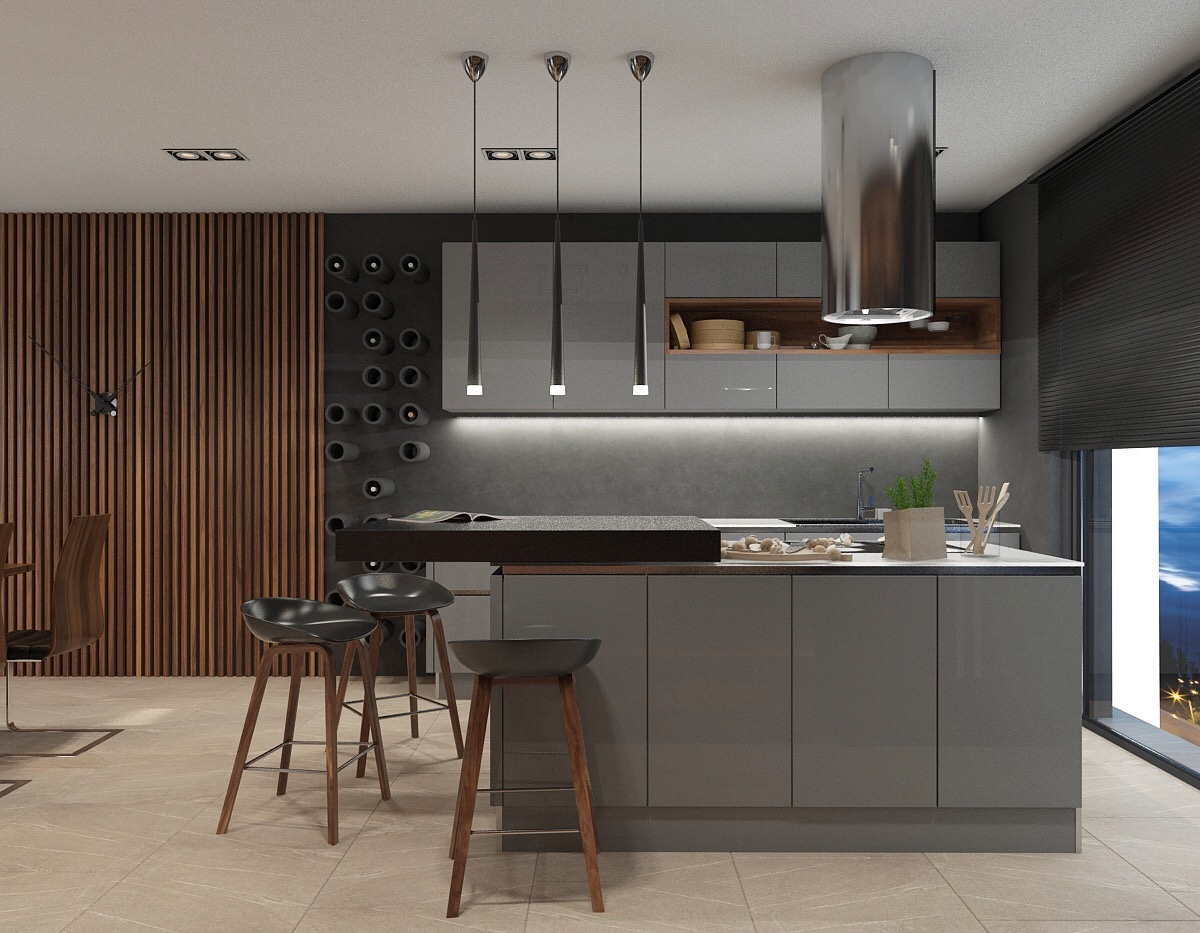 DelightFULL's Mid-Century Lamps Shine in Open Plan Kitchen in Greece 3