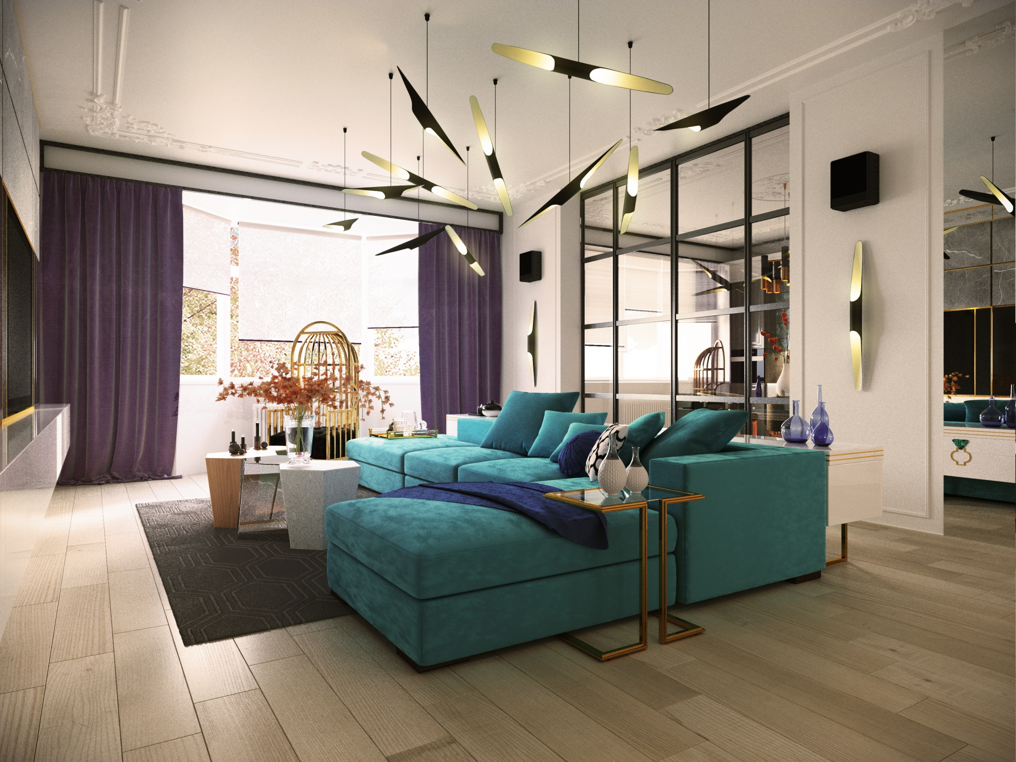 Charming Blue Apartment Design With Stunning Details