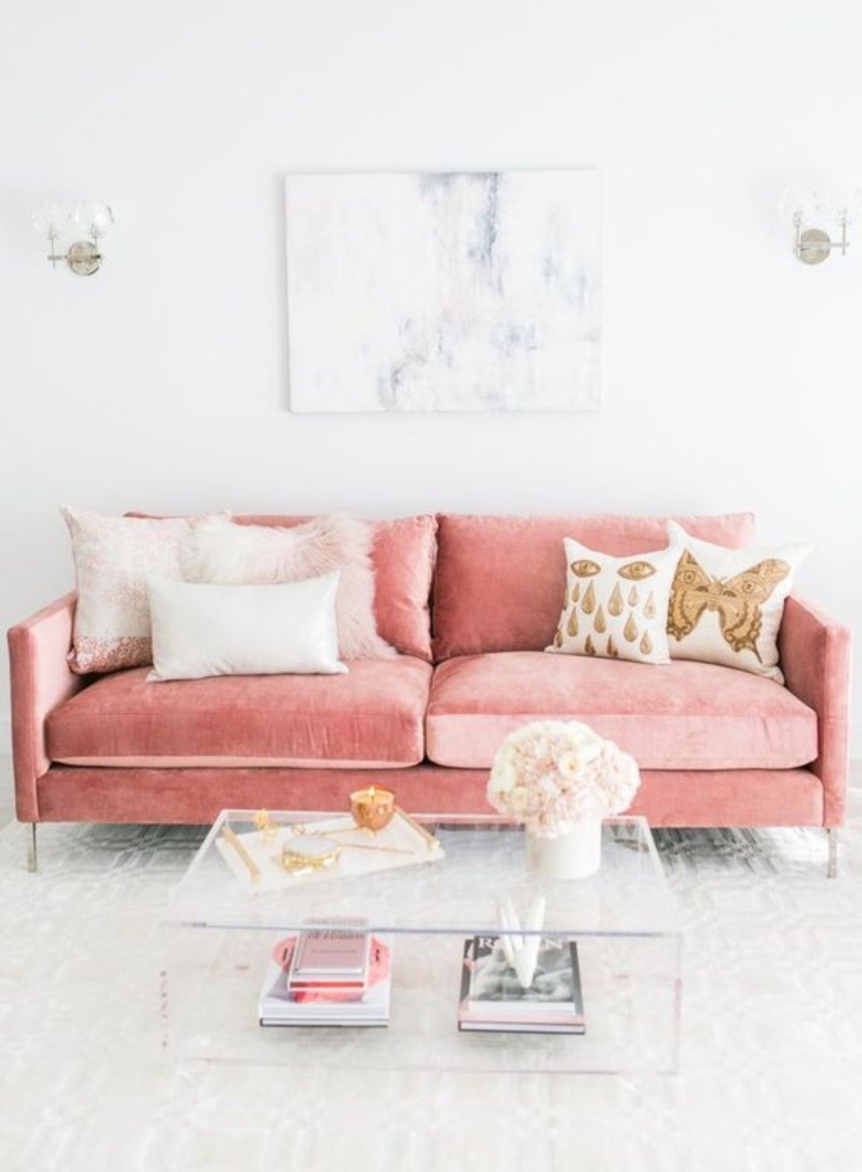 Cloud Pink Velvet, Brass and Mid Century Design = The Best Combo Ever!